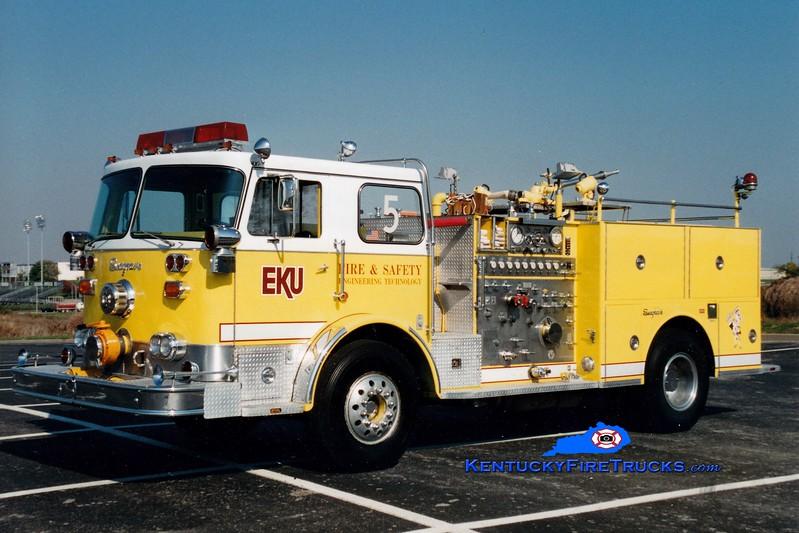 <center> RETIRED <br> Eastern Kentucky University  Engine 5 <br> x-Franconia, VA <br> 1977 Seagrave PB 1250/500 <br> Greg Stapleton photo </center>