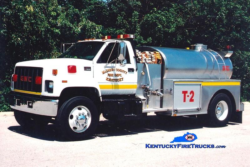 <center> Madison County  Tanker 2 <br> 1999 Chevy C7500/1990 Bluegrass 450/2000 <br> Greg Stapleton photo </center>