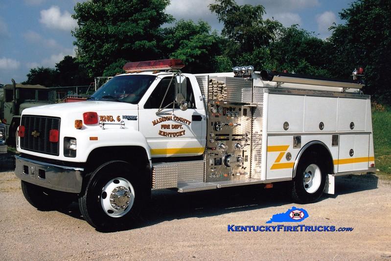 <center> Madison County  Engine 6 <br> 1996 Chevy Kodiak/KME 1250/1000 <br> Greg Stapleton photo </center>