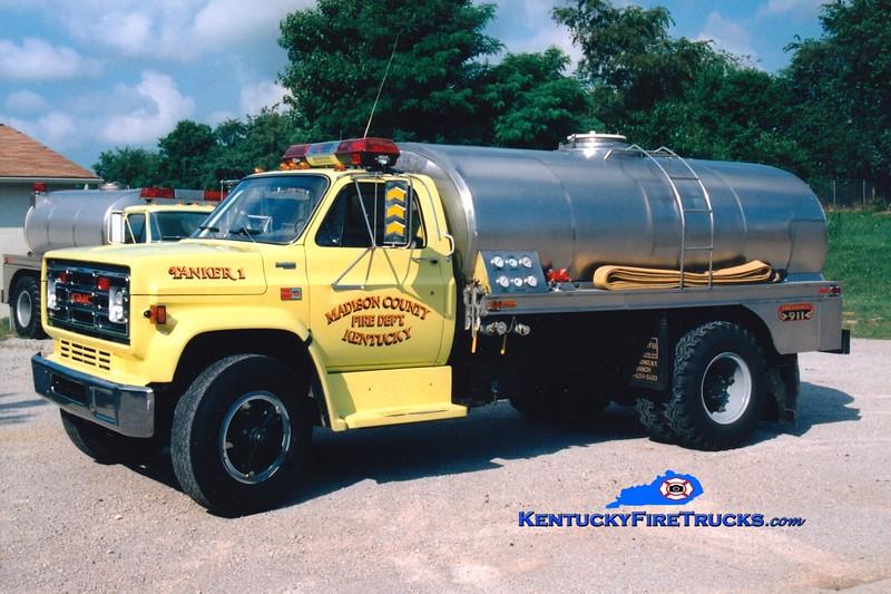 <center> RETIRED <br> Madison County  Tanker 1 <br> 1988 GMC/Bluegrass 450/2400 <br> Greg Stapleton photo </center>