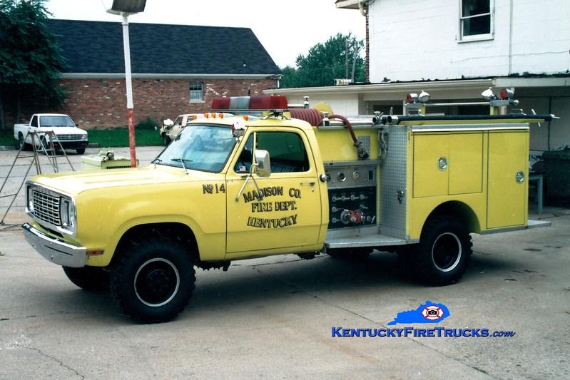 <center> RETIRED <br> Madison County  Engine 14 <br> 1977 Dodge 4x4/City Fire Equipment 250/250 <br> Greg Stapleton photo </center>