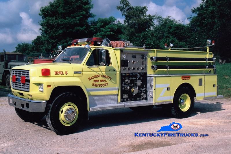 <center> Madison County  Engine 5 <br> 1982 Ford F/Jaco 750/1000 <br> Greg Stapleton photo </center>
