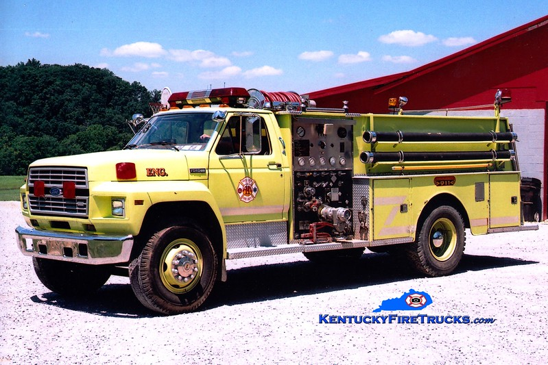 <center> RETIRED <br> Red Lick  Engine 11 <br> x-Madison County, KY <br> 1981 Ford F/Jaco 750/1000 <br> Greg Stapleton photo </center>