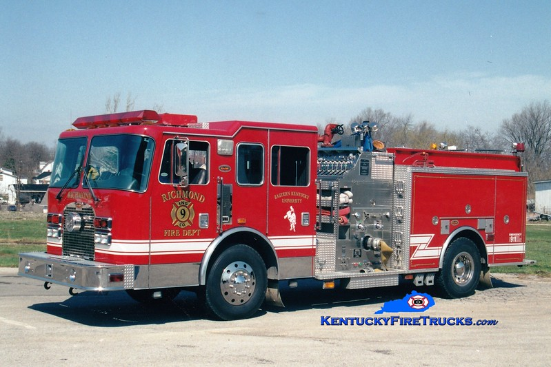<center> Richmond  Former Engines 2, 6, and 9 <br> *Cab and chassis used for Rescue 1* <br> 1997 KME Excel 1500/750 <br> Greg Stapleton photo </center>