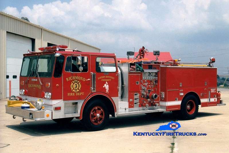 <center> RETIRED <br> Richmond/Eastern Kentucky University  Engine 3 <br> 1981 Duplex/Grumman-Howe/1999 1250/500 <br> Greg Stapleton photo </center>