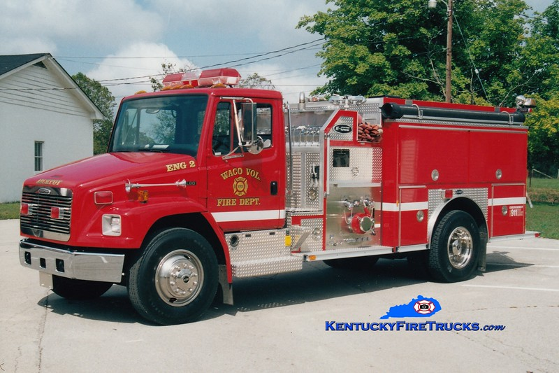 <center> NO LONGER IN SERVICE <br> Waco Engine 2 <br> 1997 Freightliner FL80/E-One 1250/1000  <br> Greg Stapleton photo </center>