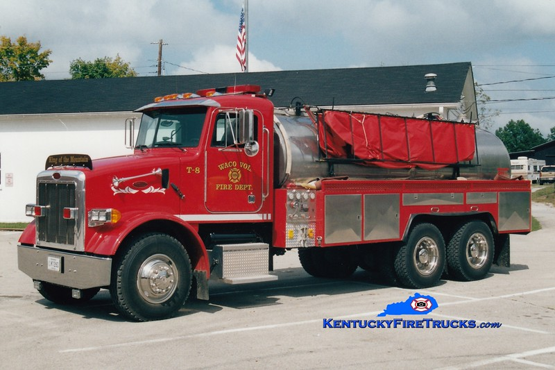 <center> Waco  Tanker 8  <br> Refurbed in 2013 <br> 2001 Peterbilt/Local 250/2500 <br> Greg Stapleton photo </center>