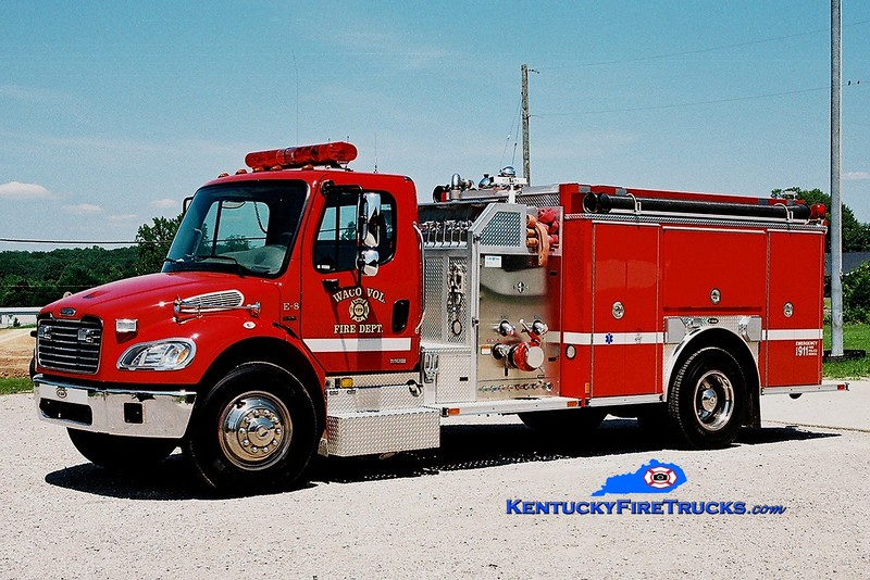 <center> NO LONGER IN SERVICE <br> Waco Engine 8 <br> 2004 Freightliner M2/E-One 1250/1000  <br> Greg Stapleton photo </center>
