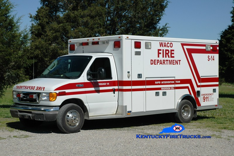 <center> Waco Squad 14 <br> x-Madison County EMS, KY  <br> 2003 Ford E-450/Marque  <br> Greg Stapleton photo </center>