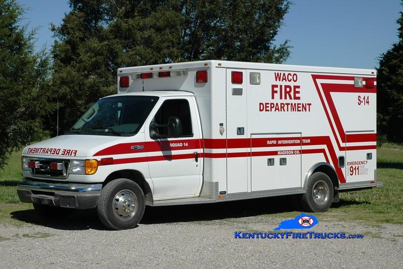 <center> Waco Squad 14 <br> x-Madison County EMS, KY  <br> 2003 Ford E-450/Marque  <br> Greg Stapleton photo </center>