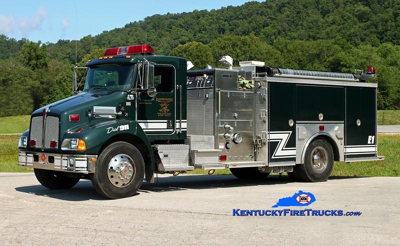 <center> Bloomington Mountaineer  Engine 1  <br> 2005 Kenworth T-300/Crimson 1250/1000 <br> Kent Parrish photo </center>
