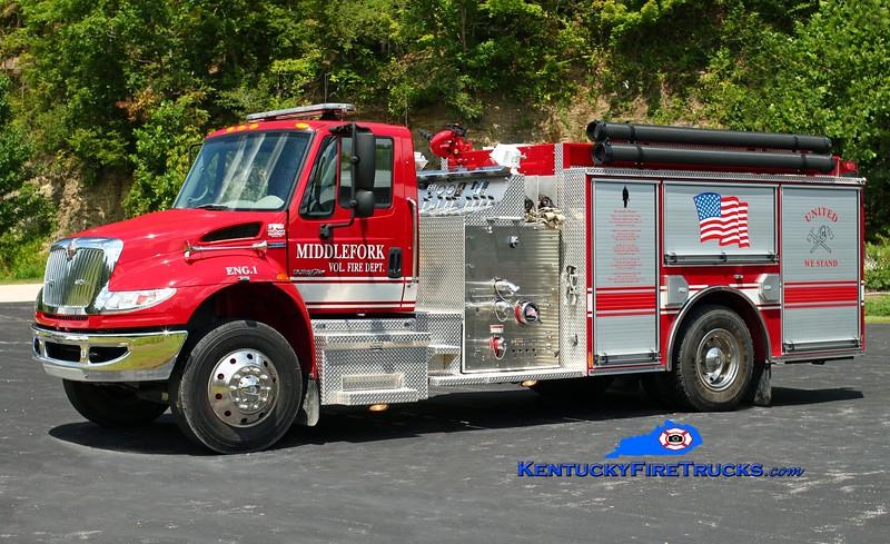 <center> Middlefork  Engine 1  <br> 2008 International 4400/Pierce 1250/1000 <br> Kent Parrish photo </center>