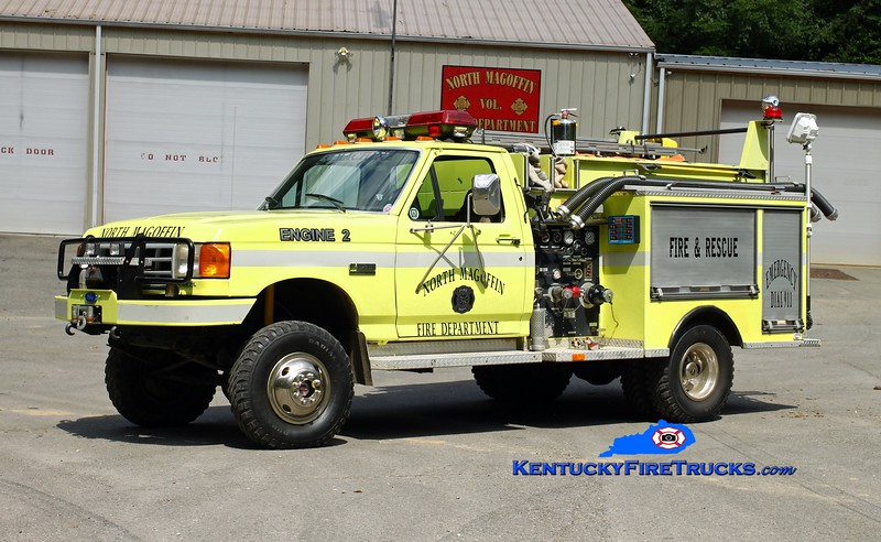 <center> North Magoffin  Engine 2  <br> 1990 Ford F-SD 4x4/Fire-Bann 500/300 <br> Kent Parrish photo </center>