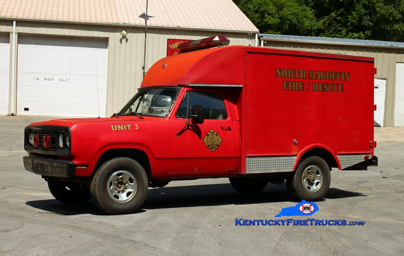 <center> North Magoffin  Rescue 3  <br> x-Military <br> 1977 Dodge W20 4x4/Mark Body <br> Kent Parrish photo </center>