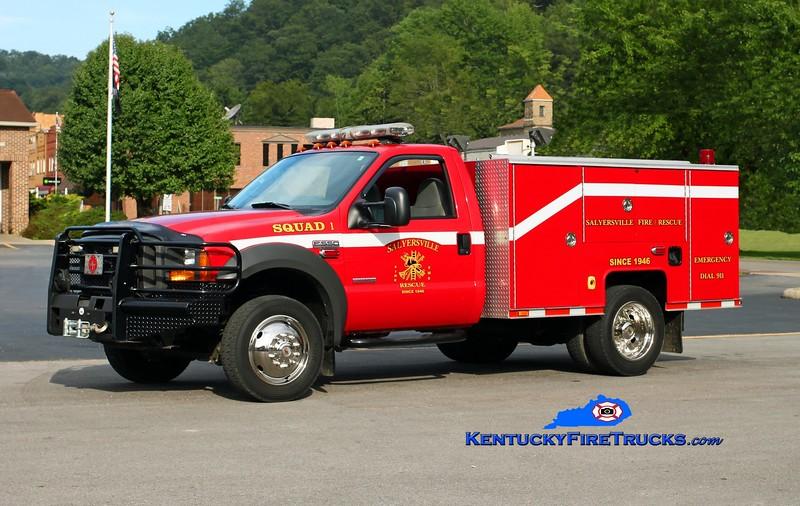 <center> Salyersville  Squad 1  <br> 2005 Ford F-550 4x4/AMI Fire 250/300 <br> Kent Parrish photo </center>
