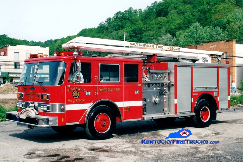 <center> RETIRED <br> Salyersville  Engine 2  <br> x-Lexington, KY <br> 1977 American LaFrance/1993 Pierce Arrow/Summit 1500/500/54' Squrt <br> Greg Stapleton photo </center>