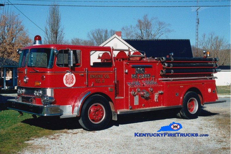 <center> Bradfordsville  Engine 5  <br> x-Mehlville, MO <br> 1966 International CO-8190/Towers 1250/500  <br> Greg Stapleton photo </center>