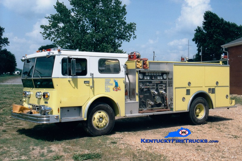 <center> RETIRED <br> Gravel Switch  Engine 1  <br> x-Jeffersontown, KY <br> 1970 Ward LaFrance/1987 Pierce 1250/500  <br> Greg Stapleton photo </center>