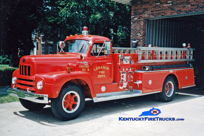 <center> RETIRED <br> Lebanon, KY  Engine 3 <br> 1961 International R/Pirsch 750/300 <br> Greg Stapleton photo </center>