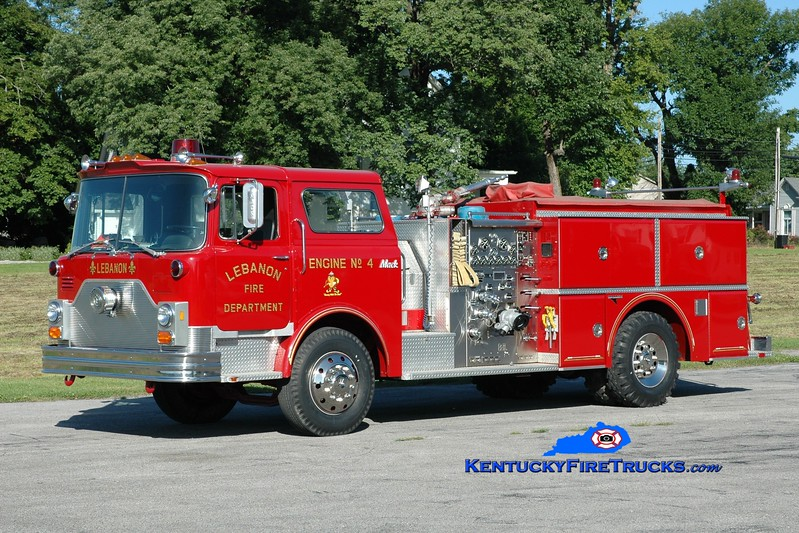 <center> Lebanon, KY  Engine 4 <br> 1985 Mack CF/Grumman 1250/750 <br> Greg Stapleton photo </center>