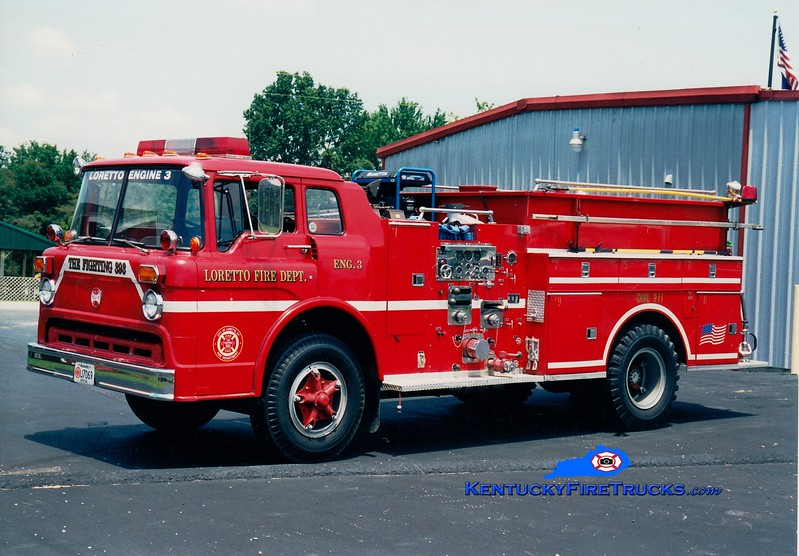 <center> RETIRED <br> Loretto  Engine 3 <br> x-Lancaster, KY <br> 1973 Ford C/Maxim 1000/600 <br> Greg Stapleton photo </center>
