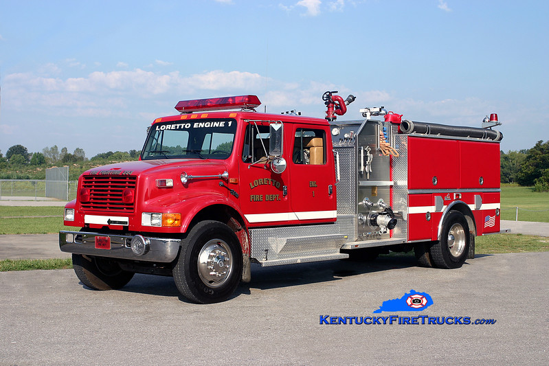 <center> Loretto  Engine 1 <br> 1993 International 4900/Ferrara 1250/750 <br> Kent Parrish photo </center>