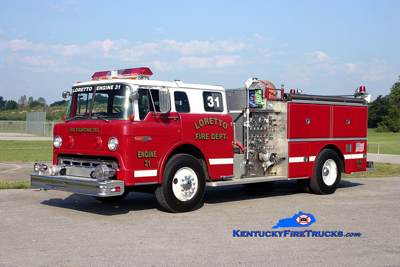 <center> RETIRED <br> Loretto  Engine 31 <br> x-Cincinnati, OH; Bardstown-Nelson County, KY  <br> 1982 Ford C-8000/Grumman 750/750 <br> Kent Parrish photo </center>