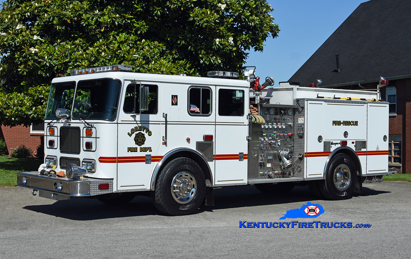 Loretto Engine 8<br /> x-Black Mudd, Okolona, & Camp Taylor, KY<br /> 1998 Seagrave Marauder 1500/750<br /> Kent Parrish photo