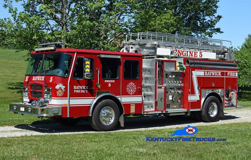 Raywick Engine 5<br /> x-Jamestown, KY & Sellersburg, IN<br /> 2003 E-One Typhoon 1250/750/50' TeleBoom<br /> Kent Parrish photo