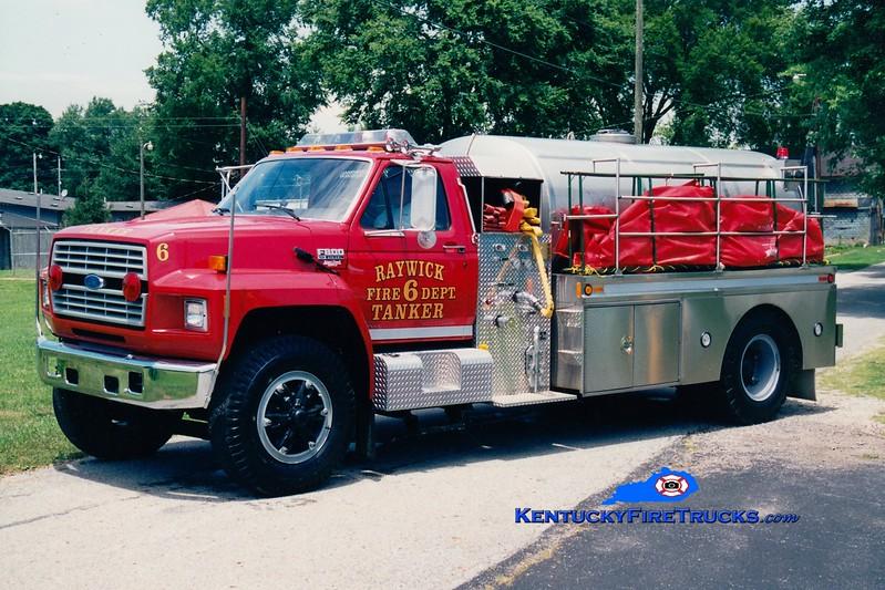 <center> RETIRED <br> Raywick Tanker 6 <br> x-Boyle County, KY <br> 1993 Ford F-800/Bluegrass 450/1800 <br> Greg Stapleton photo </center>