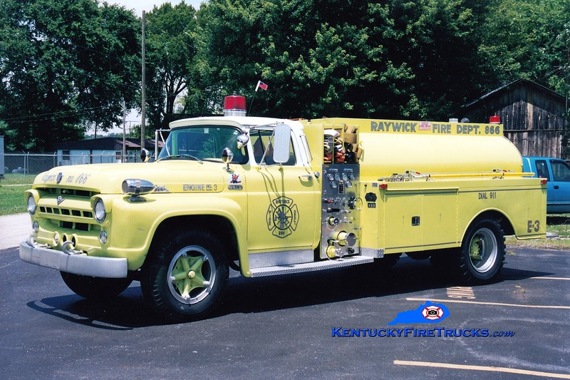 <center> RETIRED <br> Raywick  Tanker 3 <br> x-Buechel, KY <br> 1957 Ford F-750/Oren/1997 Local 750/1000 <br> Greg Stapleton photo </center>