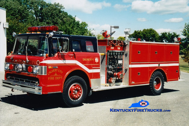 <center> Calvert City  Engine 4  <br> x-Butler, WI <br> 1970 Ford C/Pierce 1000/500/Quad  <br> Greg Stapleton photo </center>