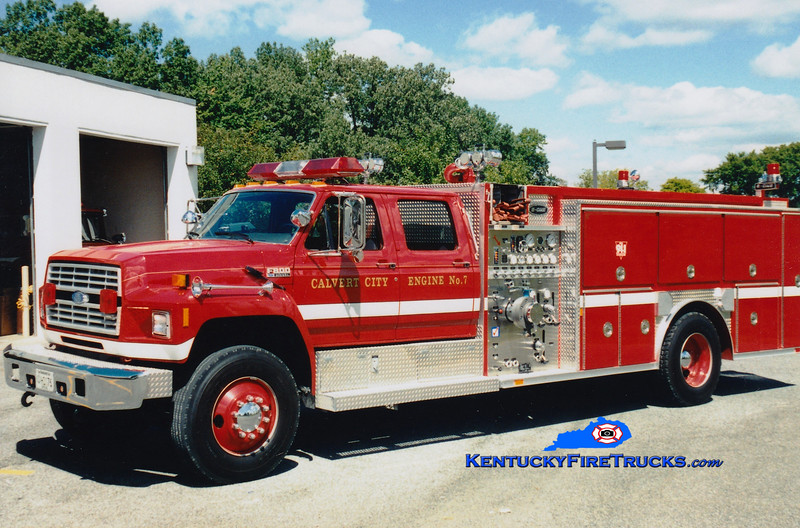 <center> Calvert City  Engine 7  <br> 1991 Ford F-800/E-One 1250/750 <br> Greg Stapleton photo </center>