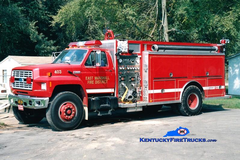 <center> East Marshall  Engine 403 <br> 1991 Ford F-800/Central States 1250/1000 <br> Greg Stapleton photo </center>