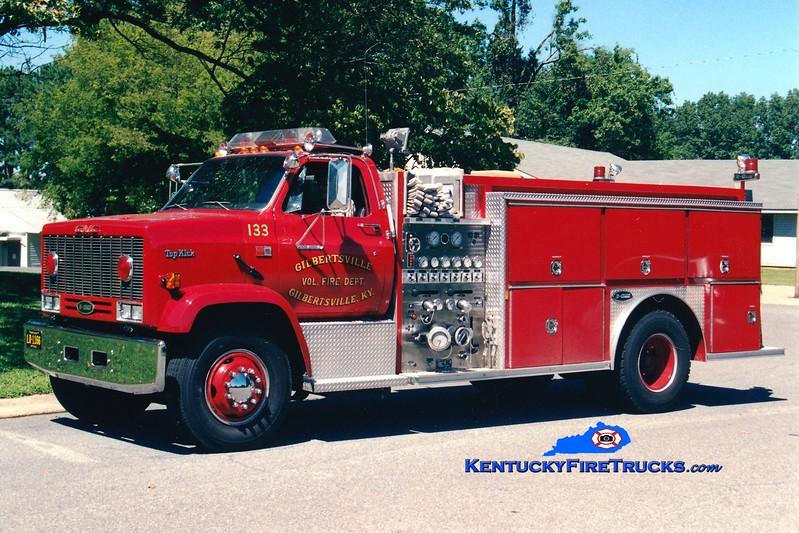 <center> Gilbertsville  Engine 103 <br> x-Engine 133 <br> 1990 GMC TopKick/E-One 1250/1000 <br> Greg Stapleton photo </center>