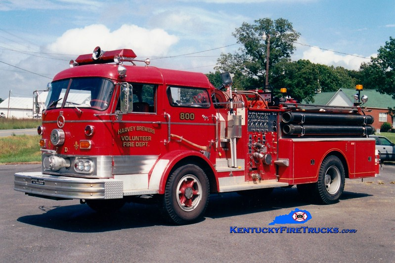 <center> RETIRED <br> Harvey-Brewers  Engine 800 <br> 1966 Mack C 1250/300 <br> Greg Stapleton photo </center>