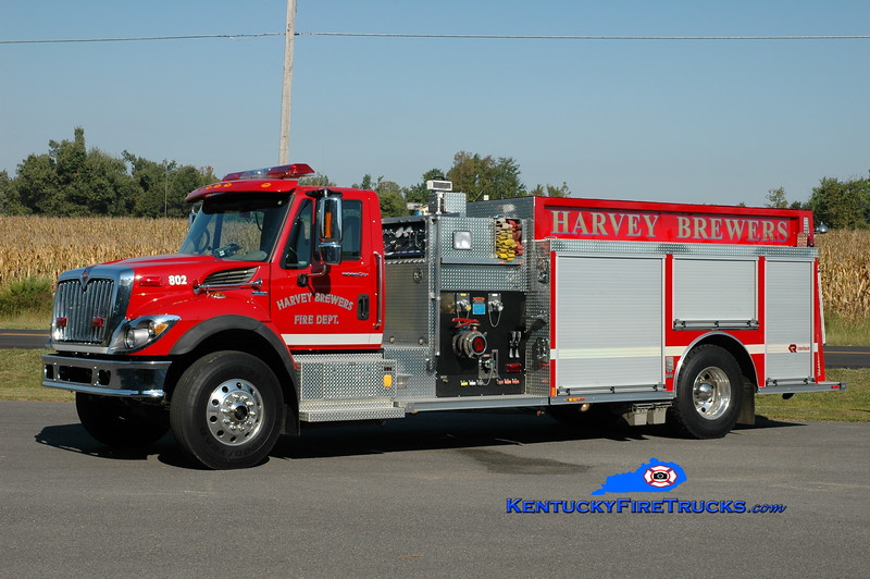 <center> RETIRED <br> Harvey-Brewers  Tanker 802 <br> 2008 International 7400/Rosenbauer-Central 1250/1250 <br> Greg Stapleton photo </center>