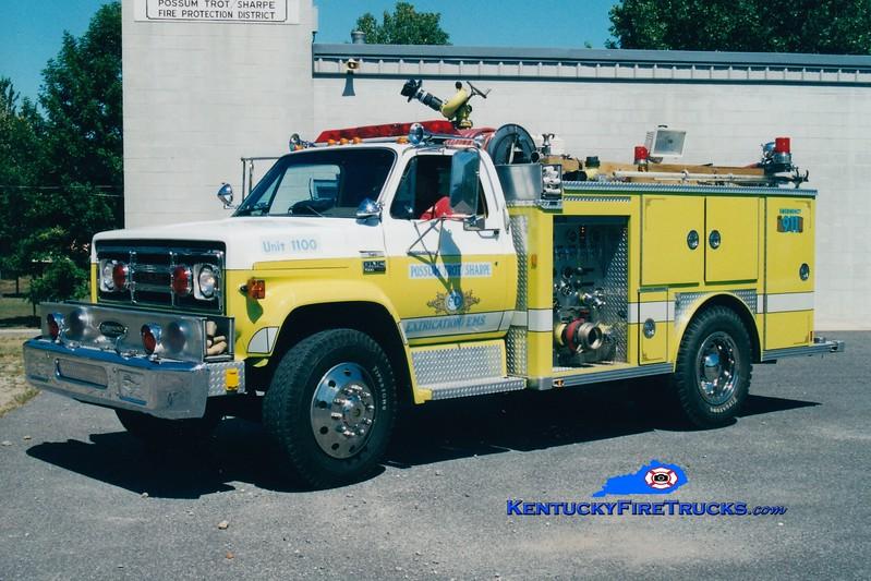 <center> RETIRED <br> Possum Trot/Sharpe  Engine 1100 <br> 1978 GMC/E-One 750/300 <br> Greg Stapleton <br> </center>