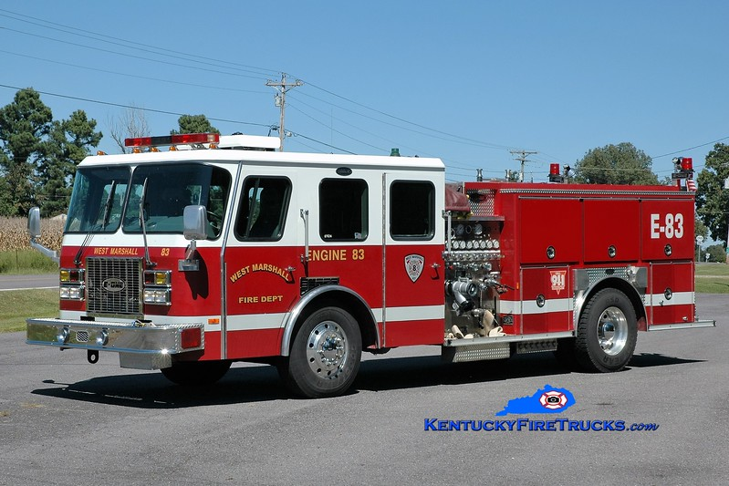 RETIRED<br /> West Marshall  Engine 83<br /> x-Paducah, KY<br /> 1995 E-One Protector TC 1250/500<br /> Greg Stapleton photo
