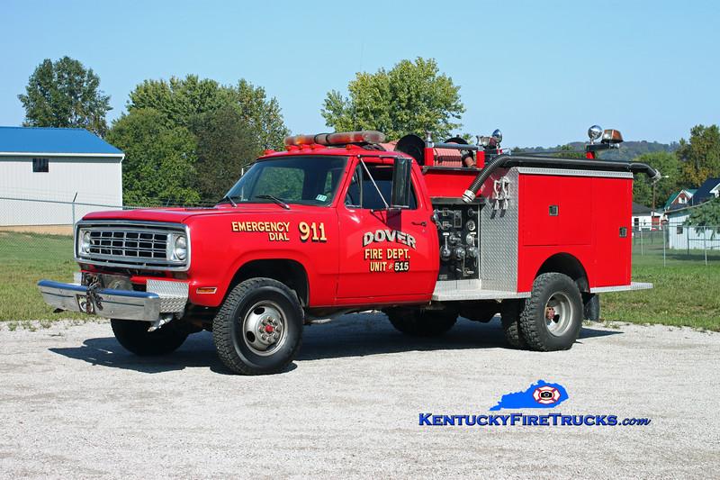 <center> Dover  Engine 515  <br> x-Prospect, PA <br> 1976 Dodge W30 4x4/Pierce 300/250 <br> Kent Parrish photo </center>