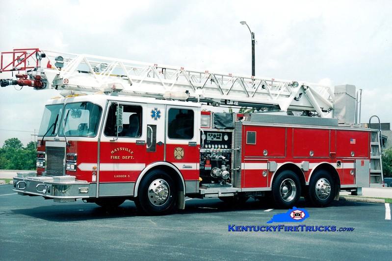 <center> RETIRED <br> Maysville  Ladder 5  <br> x-Anderson Twp, OH <br> 1994 Spartan/Central States/RK 1500/500/75' <br> Greg Stapleton photo </center>