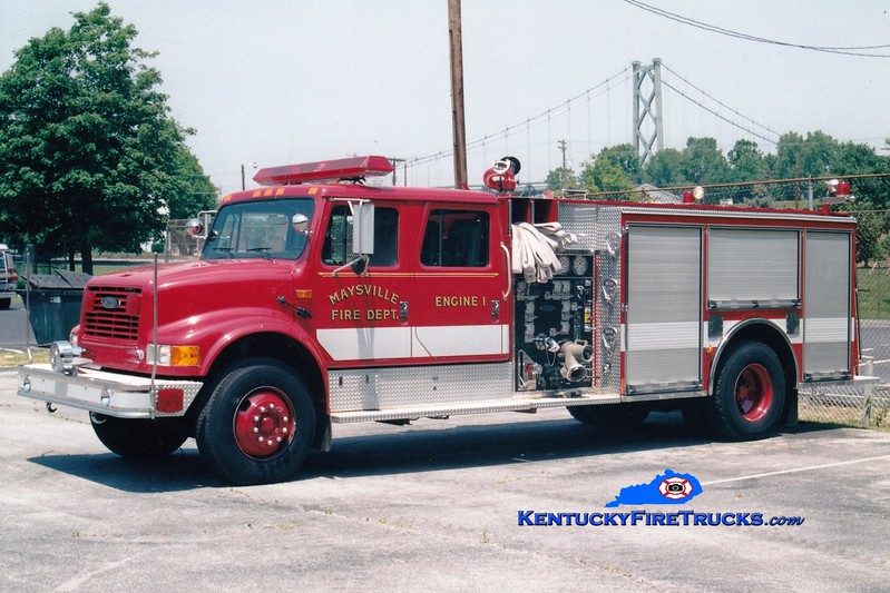 <center> Maysville  Engine 1  <br> 1994 International 4900/Pierce 1250/750 <br> Greg Stapleton photo </center>