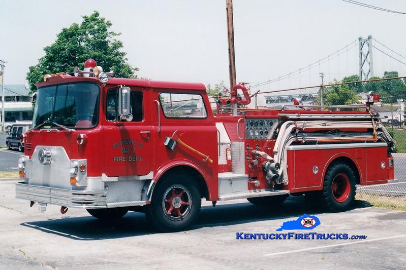 <center> RETIRED  <br> Maysville  Engine 7  <br> x-Lexington, KY <br> 1970 Mack CF 1000/300 <br> Greg Stapleton photo </center>