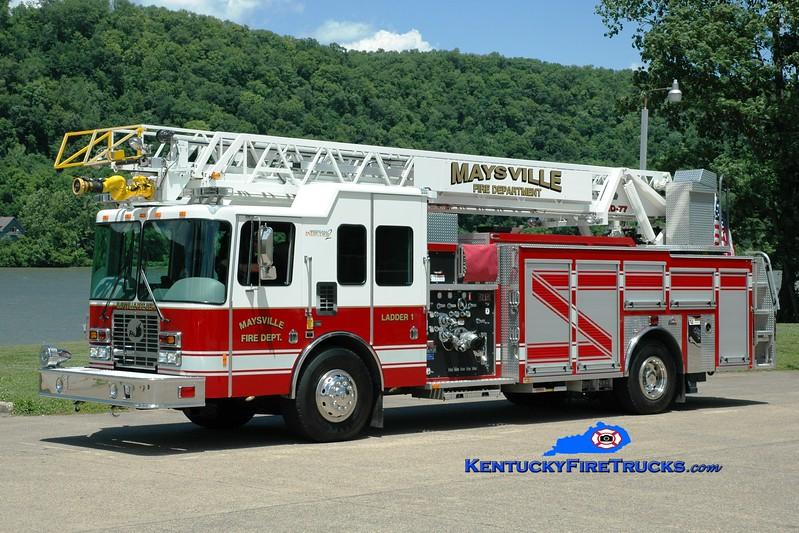 <center> Maysville  Ladder 1  <br> 2008 HME/Ferrara Intruder 2 1500/500/77' <br> Greg Stapleton photo </center>
