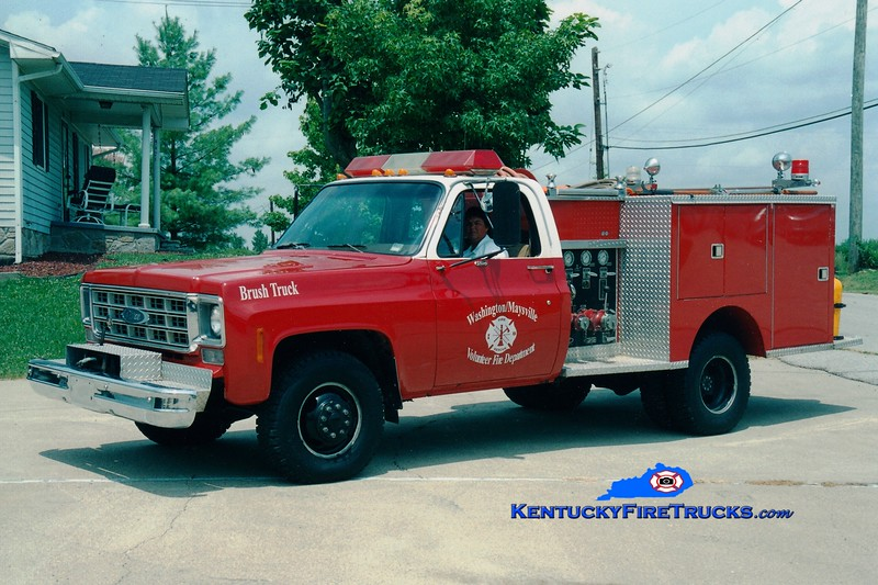 <center> RETIRED <br> Washington-Maysville  Brush 110  <br> x-Maysville, KY <br> 1977 Chevy 4x4/Pierce 250/250 <br> Greg Stapleton photo </center>