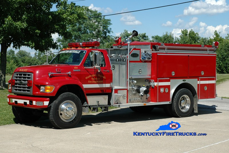 <center> Washington-Maysville  Engine 101 <br> x-Augusta, KY <br> 1995 Ford F-800/E-One 1250/1000 <br> Greg Stapleton <br> </center>