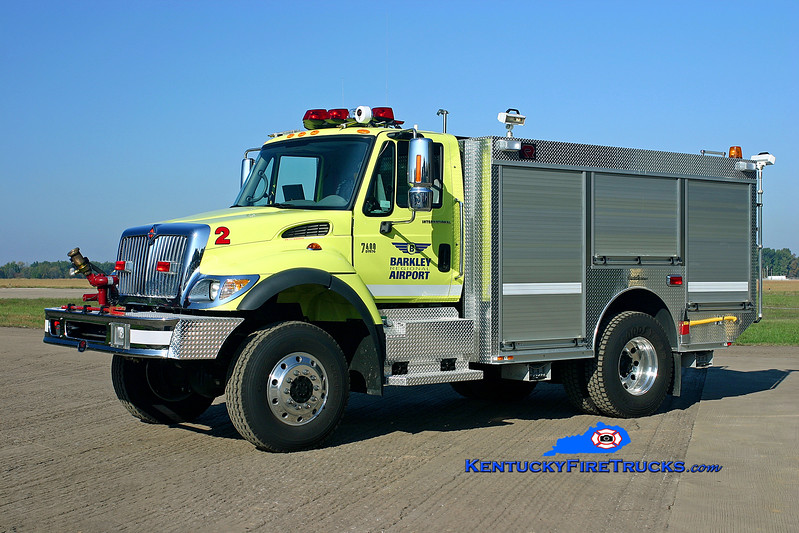 <center> Barkley Regional Airport  Unit 2 <br> 2005 International 7400 4x4/Rosenbauer-General 750/750/90F/500PK <br> Kent Parrish photo </center>