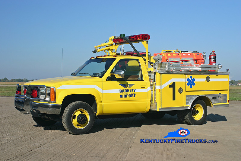 <center> RETIRED <br> Barkley Regional Airport  Unit 1 <br> 1990 GMC Sierra 4x4/E-One Twin Agent <br> Kent Parrish photo </center>