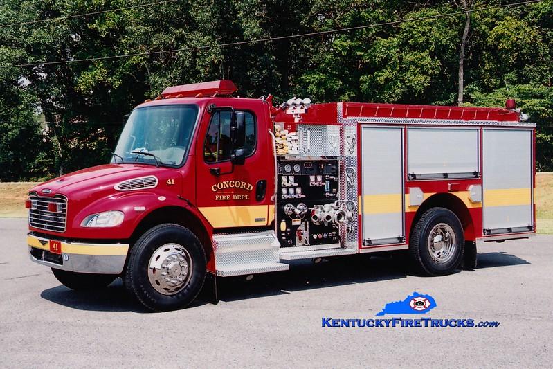 <center> RETIRED <br> Concord  Engine 41 <br> 2003 Freightliner M2-106/Pierce 1250/1000 <br> Greg Stapleton photo </center>