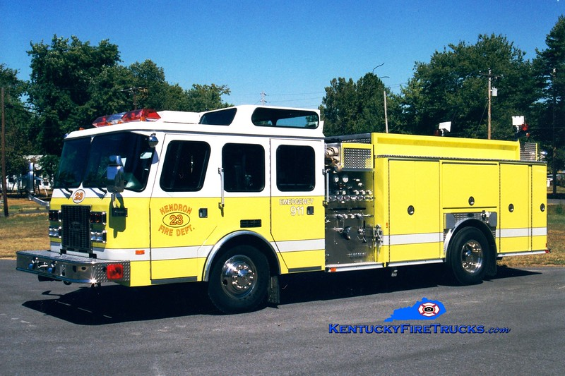 <center> Hendron  Engine 23 <br> 1996 E-One Sentry 1500/750/30 <br> Greg Stapleton photo </center>